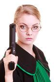 Žena právník právník v polské černé zelené šaty s pistolí — Stock fotografie