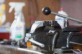 Closeup of bench vice at workroom — Stock Photo