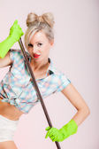 Sexy girl retro style, woman housewife cleaner with mop — Stock Photo