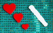 Valentines day background. paper blank hearts on green fabric material — Stock Photo