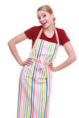 Funny housewife or barista wearing kitchen apron isolated — Stock Photo