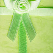 Giftbox closeup. Ribbon with bow on green background — Stock Photo #42164117