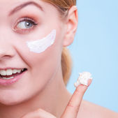 Skincare. Face of young woman girl taking care of dry skin. — Stock Photo
