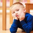 Portrait of pensive or tired boy child kid. Emotions. At home. — Stock Photo