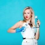 Funny sexy girl doctor nurse with syringe stethoscope — Stock Photo #42497267
