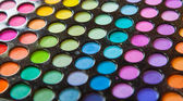 Palette professional colorful eye shadows. Makeup set background. — Stock Photo