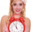 Wedding concept. Time to get married. Bride with clock. — Stock Photo