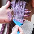 Hairdresser applying color female customer at salon, doing hair dye — Stock Photo #42634977