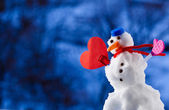 Little happy christmas snowman heart love symbol outdoor. Winter season. — Stock Photo