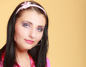 Childish young woman infantile girl in pink. Longing for childhood. — Stock Photo