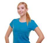 Portrait casual blond smiling girl female student isolated. Education college. — Stock Photo