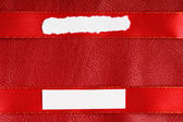 Piece scrap papers blank copy space on red ribbon leather background — 图库照片