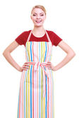Young housewife or barista wearing kitchen apron isolated — 图库照片
