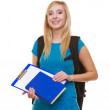 Casual girl female student with bag backpack notebook book isolated — Stock Photo #43115681