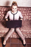 Business woman using computer. Internet home technology. Vintage photo. — Foto Stock
