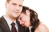 Wedding couple. Portrait hugging bride and groom — Stock Photo