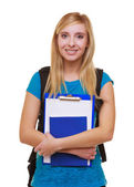 Casual girl female student with bag backpack notebook book isolated — Stock Photo