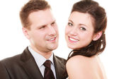 Wedding couple. Portrait of happy bride and groom — Stock Photo