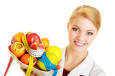 Doctor dietitian recommending healthy food. Diet. — Foto de Stock
