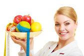 Doctor dietitian recommending healthy food. Diet. — Stock Photo
