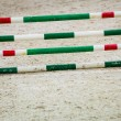 Green red white obstacle for jumping horses. Riding competition. — Stock Photo