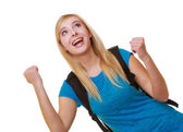 Casual happy girl female student with bag showing success hand sign — Stock Photo