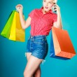 Pinup girl with shopping bags calling on phone — Stock Photo #44043935