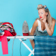 Sexy girl retro style ironing male shirt, woman housewife in domestic role. — Stock Photo #44110643