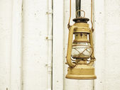 Street aged vintage kerosene oil lamp outdoor — Stock Photo