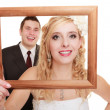 Wedding couple. Portrait of happy bride and groom — Stock Photo #44516371