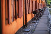 Bicycles on the city street Scandinavia Europe — Stok fotoğraf