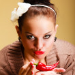 Woman fashion girl retro style with chilli pepper. Flirtatious coquette — Stockfoto