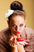 Woman fashion girl retro style with chilli pepper. Flirtatious coquette — Stock Photo