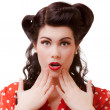 Portrait of surprised shocked girl covering mouth with hands. Retro. — Stock Photo
