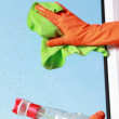 Gloved hand cleaning window rag and spray — Stock Photo #45129465