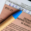 Filling in polish individual tax form PIT-37 for year 2013 — Stock Photo #45400953