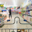 View from shopping cart trolley at supermarket shop. Retail. — Stock Photo #45401523