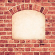 Old arch arc niche with copy space in brick wall background — Stock Photo