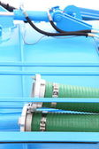 Green plastic hose tube outdoor — Stock Photo