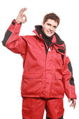 Young man sailor in red wind jacket. Sailing. — Foto Stock