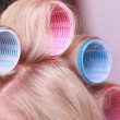 Female blond hair head curlers rollers hairdresser beauty salon — Stock Photo #45949129