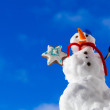Little happy christmas snowman with cookie star outdoor. — Stock Photo