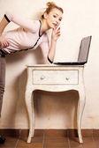 Businesswoman working on computer laptop — Stock Photo