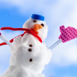 Little happy christmas snowman with pink gloves outdoor. — Stock Photo
