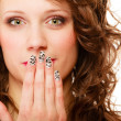 Pretty woman happy smile cover her mouth by hand palm — Stock Photo