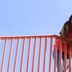 Trendy cool teenage girl on the urban bridge — Stock Photo #46369193