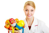 Doctor dietitian recommending healthy food. — Stock Photo