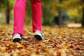 Runner legs running shoes. Woman jogging in autumn park — Foto Stock