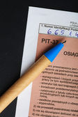 Filling in polish individual tax form PIT-37 for year 2013 — Stock Photo