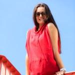 Trendy cool teenage girl on the urban bridge — Stock Photo #47046873